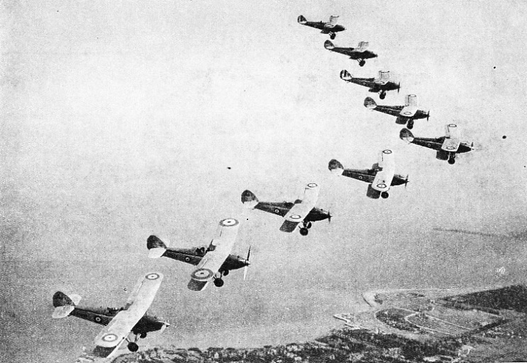 NINE HAWKER HARTS flying in V formation
