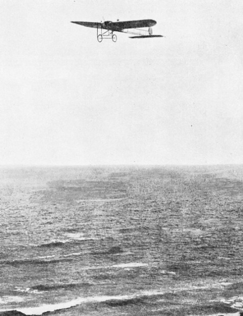 Bleriot's monoplane nearing the English coast after the Channel crossing
