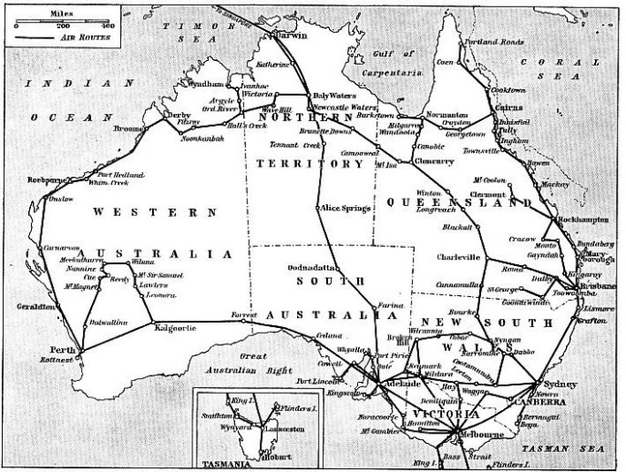 MAP SHOWING ALL THE IMPORTANT AIR ROUTES OF AUSTRALIA