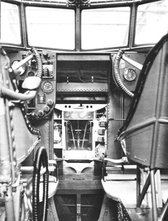 THE BOMB-AIMER'S POSITION in a Saro London flying boat
