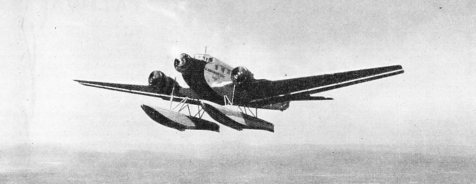 JUNKERS THREE-ENGINED SEAPLANE of the type used by DNL in Norway