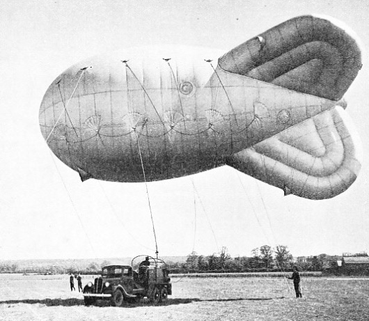 One of the captive balloons designed for anti-aircraft aprons round London and other cities