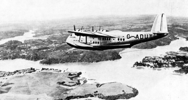 IMPERIAL AIRWAYS FLYING BOAT CENTAURUS in flight near Auckland