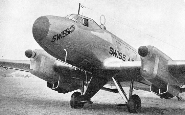 A SWISSAIR PASSENGER MACHINE equipped with Lorenz radio apparatus for making blind approaches to an aerodrome