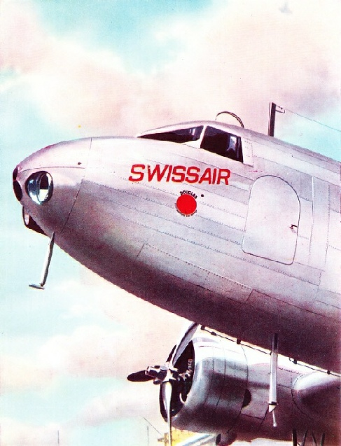FIVE RADIO AERIALS ARE USED on this Douglas DC-2 air liner of Swissair