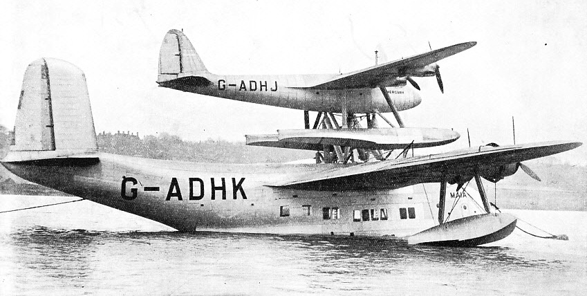 TWO SEPARATE UNITS comprise the Short-Mayo composite aircraft