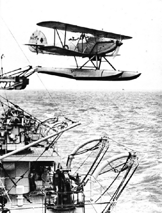 A HAWKER SEAPLANE LEAVING THE CATAPULT of HMS Sussex