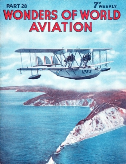 A Southampton class flying boat in the air over the Needles