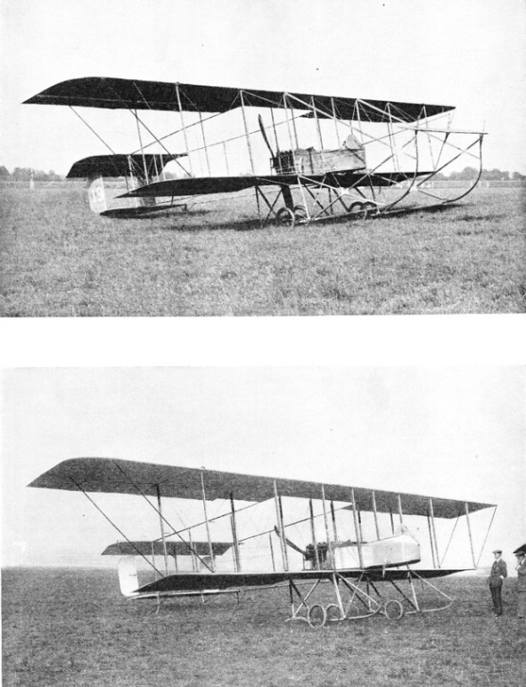 A FORWARD ELEVATOR mounted on outriggers in front of the main planes distinguished the Maurice Farman Longhorn from the Shorthorn