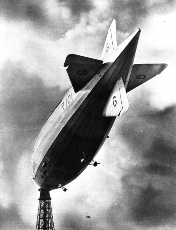RIDING AT HER MOORING MAST at Cardington, Bedfordshire, the British rigid airship R 101