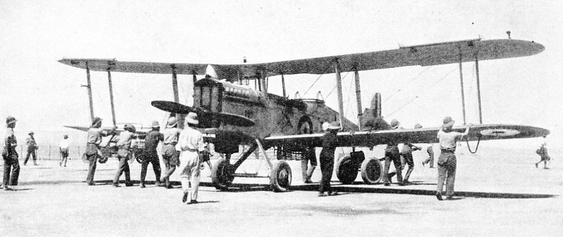 WHEELING OUT A D.H.9a at Amman, Transjordan, during the war of 1914-18