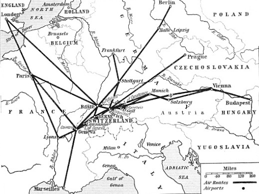 THE INTERNATIONAL AIR ROUTES TO AND FROM SWITZERLAND