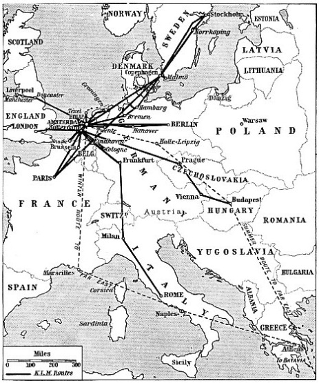 European Routes of KLM