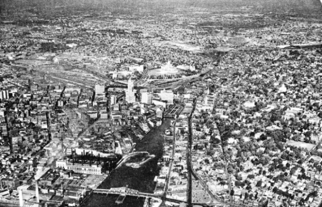 OBLIQUE AIR VIEW of the city of Providence, Rhode Island, U.S.A.