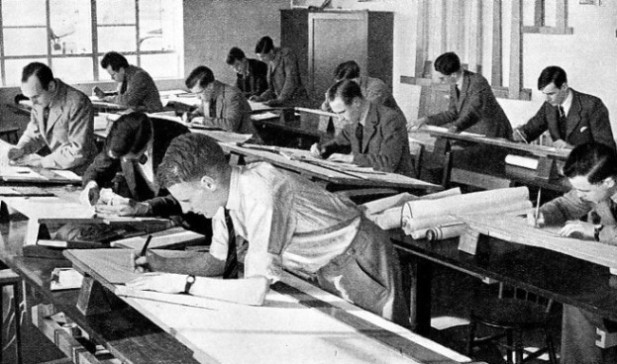 PLANS ARE DRAWN UP by draughtsmen for every part of an aeroplane before construction can be begun