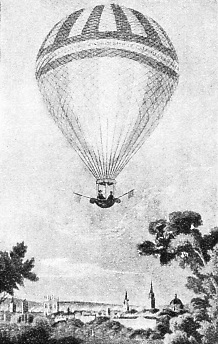 ASCENDING FROM MERTON FIELDS, OXFORD, on July 7, 1810, James Sadler made a voyage of two and a half hours in this balloon