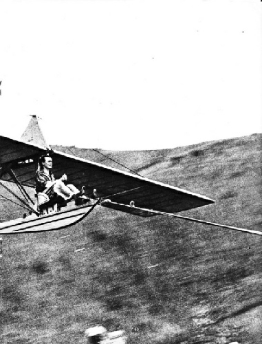GLIDER BEING LAUNCHED by rubber rope