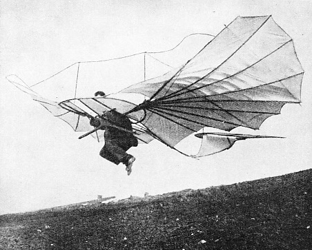 ONE OF THE EARLY GLIDERS with which Otto Lilienthal made successful flights
