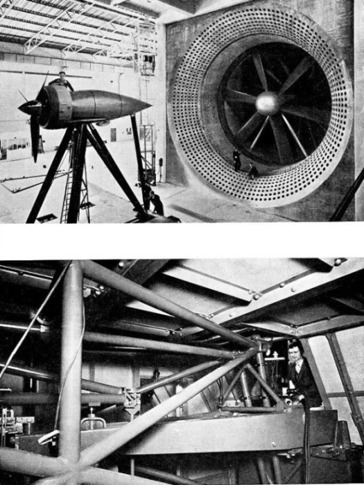 AN ENGINE AND ITS NACELLE being fitted into place in the wind tunnel of the Royal Aircraft Establishment