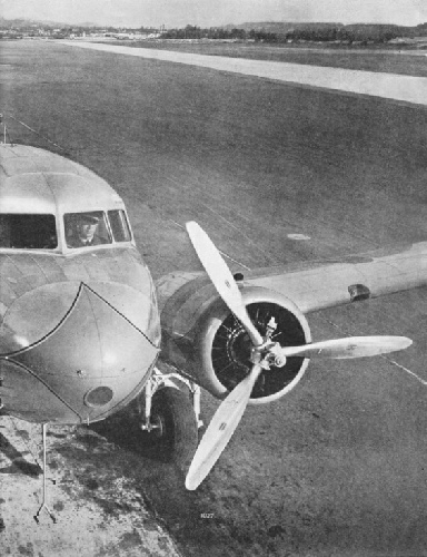 AN UNUSUAL VIEW of a Douglas DC-3 air liner of American Airlines