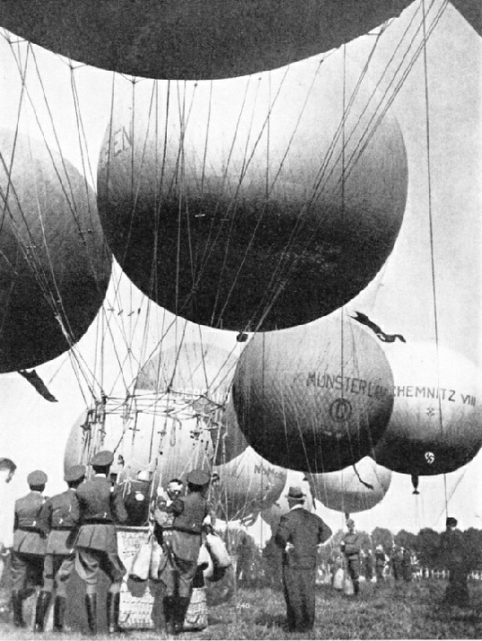 AT THE STAR OF A BALLON RACE from Dusseldorf, Germany, in 1937