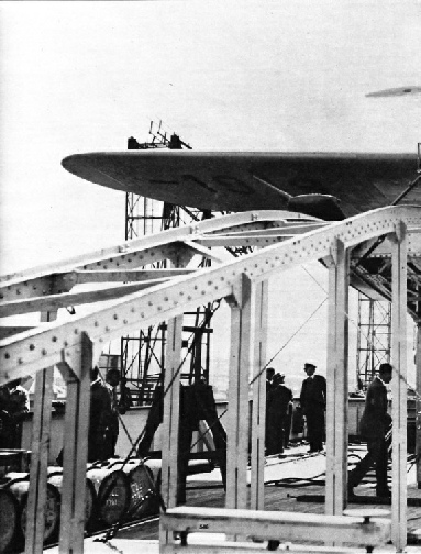 the seaplane mounted on the catapult of the Europa