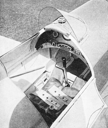 AN UNUSUAL THROTTLE is fitted to the Chilton monoplane