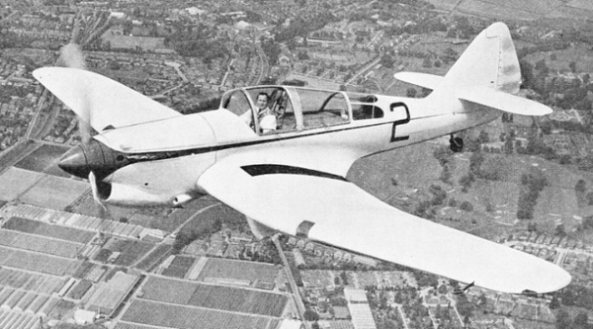 The Miles R. R. Trainer, fitted with a Rolls-Royce Kestrel engine and a three-bladed controllable pitch propeller