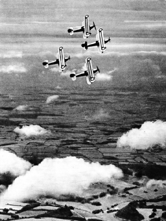 A FLIGHT OF HAWKER FURY AIRCRAFT in close formation