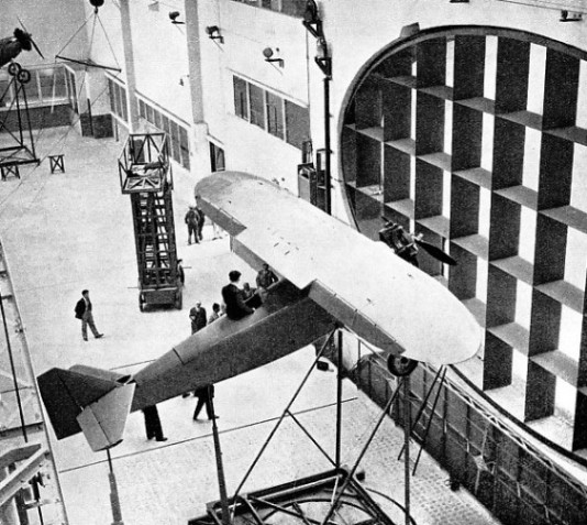 FULL-SIZE AEROPLANES can be tested in the wind tunnel erected by the French Air Ministry