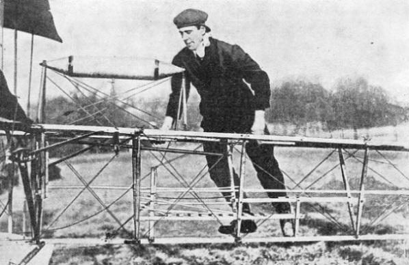 A. V. ROE WITH HIS PIONEER MACHINE OF 1909