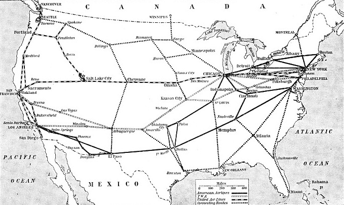 Principal Air Routes of the United States
